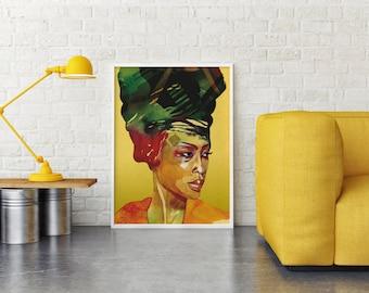 Printed wall art, Original Erykah Badu watercolor digital print, Watercolor painting, Bright wall art, Yellow color