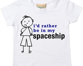 Spaceship Tshirt I'd Rather Be In My Sapceship Tshirt Kids Sibling Children New Born Gift Present