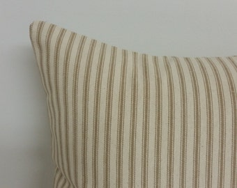 Brown ticking pillow cover, pillow cover, brown  stripe pillow, 18 x 18 inch, Ticking khaki stripe pillow, Pillow cover