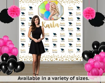 Congrats Grad Personalized Photo Backdrop - Step & Repeat Photo Backdrop- Class of 2018 Photo Backdrop- Graduation Photo Backdrop