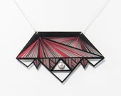 Graphic necklace - Geometrical necklace - Short necklace - Triangular - Necklace leather - Lines - Modern - Futurist - Kathleen Bellonde