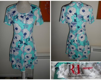 Cute Vintage Retro 1960s 1970s Turquoise Blue White Floral Print Mini Dress By R&K Originals UK Size 8 10