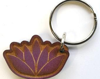 Lotus Wood Keychain