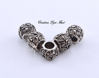 Choose 1, 3 or 5 European style charm beads tibetan silver, with rhinestones!