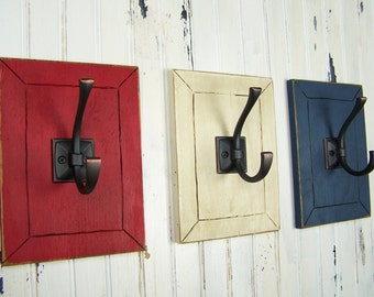 Decorative Wall Hooks Entryway Hooks Mudroom Hooks Country Cottage Rustic Bathroom Decor Americana Decor Fourth of July Patriotic Decor