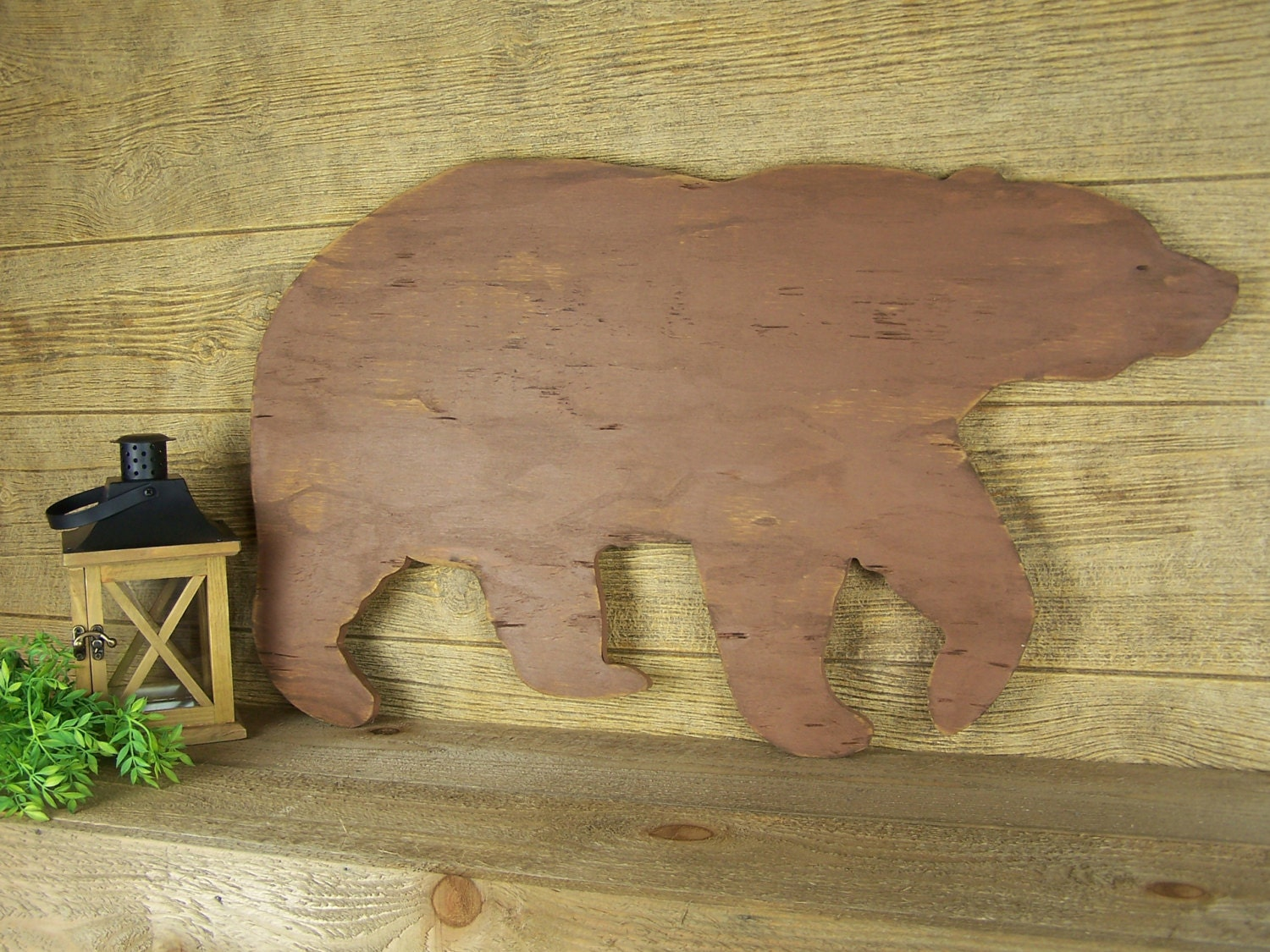 Wooden bear rustic home decor grizzly bear wall art lake house for Rustic bear home decor