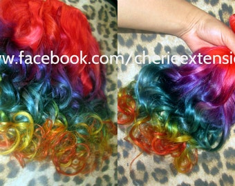 Balayage Dip Dye 8A Remy Dip Dye Ombre Balayage Clip In Human Hair Extensions Red Rainbow