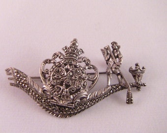 Marcasite and Silver Brooch Watch