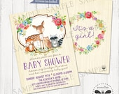 Woodland Baby Shower Invitation / Printable Woodland Digital Invite / Forrest Animals Vintage Floral Watercolor Party
