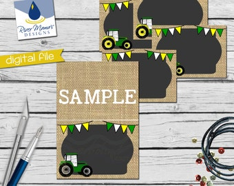 Printable Tractor Food Tents / Printable Tractor Place Cards