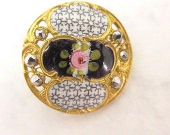 Antique Vintage Art Nouveau Flower Enamel Cut Steel Pierced Metal Button