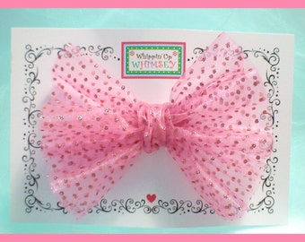 Fancy Hair Bow - Pink Sparkle Organza Hair Bow - Party Hair Bow in 8 Color Choices