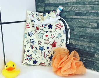 Drawstring bag, Stars and Stripes, waterproof bag, necessaire baby bag, gift for a boy, cosmetic bag, toiletry bag, gift for a girl.