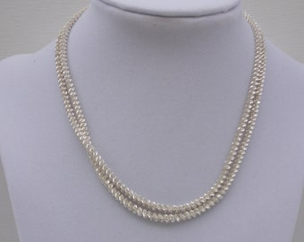 Sterling Silver Textured Necklace - Silver - Sterling Silver Necklace - 30 Inches