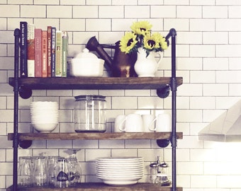 "Industrial 36"" Wide Wall Shelf Unit, 7 1/4"" Deep Rustic Wood and Pipe Shelves, Open Shelving, Kitchen and Bathroom Storage"