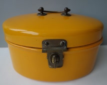 Very good condition vintage enamel ocher yellow lunch box metal box storage box money box very rare 1950's sixties