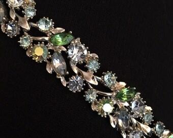 Blue & Green Rhinestone Bracelet
