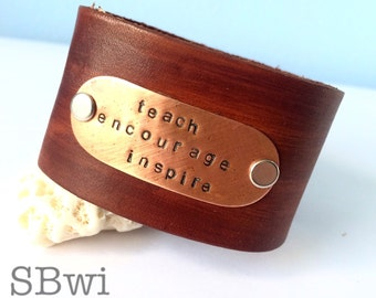Bracelet in copper, bronze and genuine leather/ teach encourage inspire