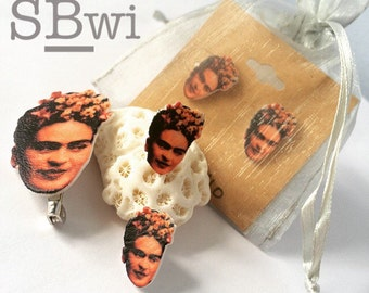 Frida Kahlo celebrity stud earrings/lapel pin