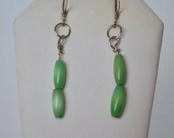 Vintage Sterling Silver 925 Natural Green Cat Eye Dangle Hook Earrings