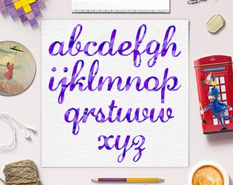 LIMITED EDITION / Violet Watercolor Alphabet / Calligraphy Font Clipart / Modern Brush Letters / Download / BUY5FOR8
