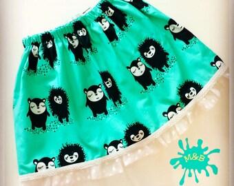 Organic baby skirt, organic girls skirt, hedgehogs, girls clothes, baby clothes, organic baby clothes, organic skirt