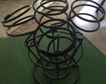 Vintage Black Metal Countertop Wine Rack