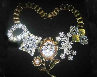 Vintage Huge Rhinestone Bookchain Necklace AWESOME