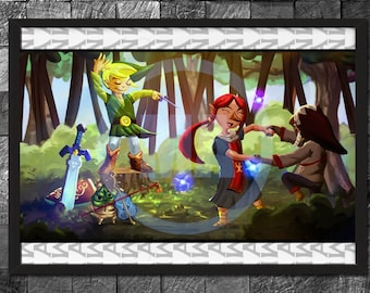 Legend of Zelda Link Art Poster Digital Art print Glossy  Gaming decor