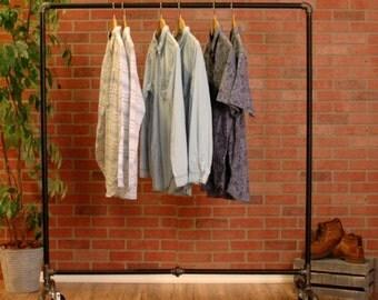 "Industrial Rolling Dress Rack 70"" Tall 48"" Long - Clothing Rack - Industrial Pipe Rack - Retail Fixture"
