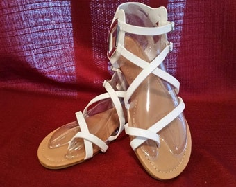 Beach Sandals, White Beach Sandals, Gladiator Ankle Sandals, 50% off Size 7 1/2 only