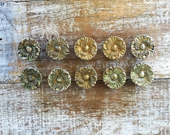 Drawer Knobs 10 Drawer Pulls Brass Flower Knobs Cottage Chic Hardware Antique Hardware Dresser Drawer Pulls Cabinet Knobs Mid Century