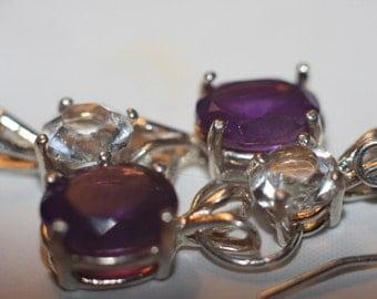 Handmade Purple Amethyst & White Topaz Earrings in Sterling Silver