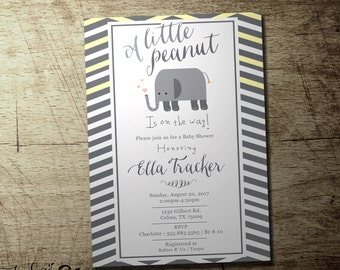 Little peanut baby shower invitation | gender neutral | elephant theme | Custom accent color available | digital printable file |
