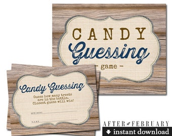 Candy Guessing Game Wood Farm Rustic Baby Shower Games Boy Printable  // INSTANT DOWNLOAD No.709NAVY