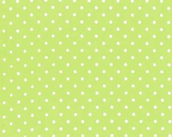 Kiss Dot in Garden green by Michael Miller fabrics, small dot lime green fabric by the yard, green white polka dot cotton fabric yardage