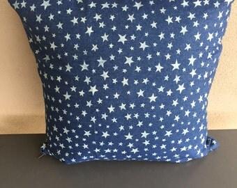 Denim Stars Cushion Cover