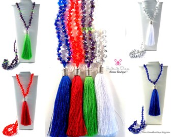 Crystals Tassel Necklace | Long Necklace | Tassel Jewelry | 108 Crystals Necklace | Mala Necklace | GreenPurple–White–Red–Blue Long Necklace