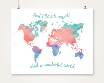Watercolor World Map Printable Download Turquoise And Coral And Navy Wall Art Decor Poster Large Digital