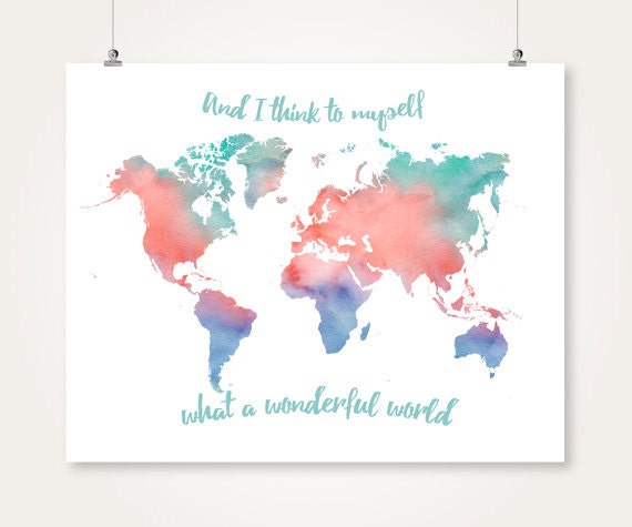 Watercolor world map printable download turquoise and coral watercolor world map printable download turquoise and coral and navy wall art decor poster large digital print pdf instant download jpg gumiabroncs Image collections