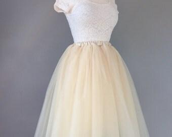 Tulle skirt-adult-lined-bachelorette tutu- champagne, ivory tulle skirt,