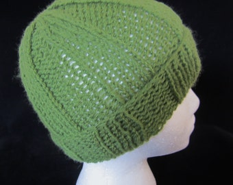 Boy's Olive Green Hat-handkit with sportweight acrylic yarn. Wear to sport events, hiking & outdoor recreation. Great holiday gift for boys!