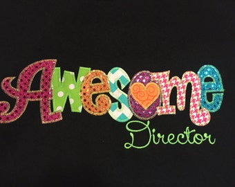 Awesome Director  Applique Blingy T-Shirt