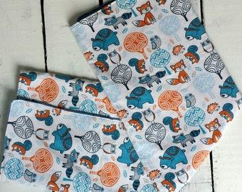 Woodland Baby Blanket, Forest Animal Baby Blanket, Baby Bedding, Blue and Orange Baby Blanket, Baby Boy Blanket, Baby Gift
