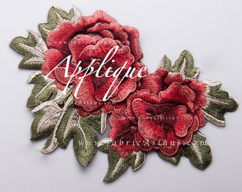 Red Flower Patch Applique