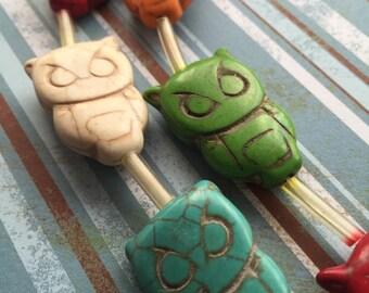 Owl beads, A Rainbow of Howlite Owl Chunky Focal Beads 1 Strand