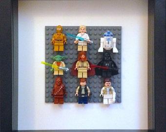 Lego Star Wars Framed Wall Art Minifigures (C-3PO, Luke, R2D2, Yoda, Obi-Wan, Darth Vader, Chewbacca, Han Solo, Princess Leia)