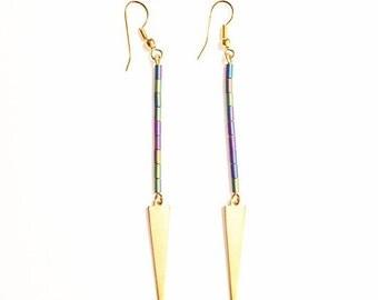 Gold Tone Spike Dangle Earrings