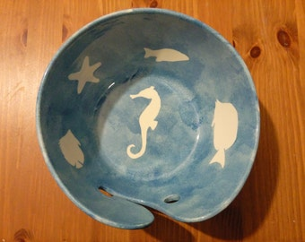 Hand Painted Ceramic Large Yarn Bowl under the sea fish Pattern