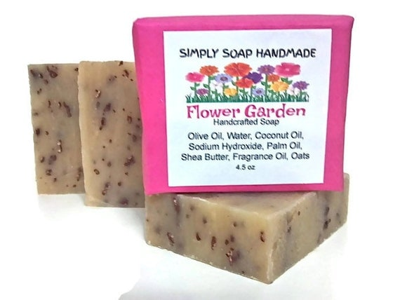 Flower Garden Soap,Floral Scent,Flowers Scent,Summer Scent,Summer Soap,Scent of Flowers,Shea Butter Soap,Exfoliating Soap,Soap with Oatmeal